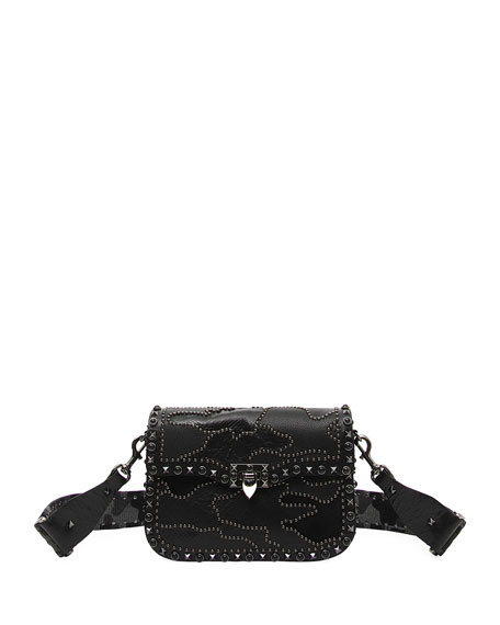 GUITAR ROCKSTUD ROLLING RICAMO SHOULDER BAG
