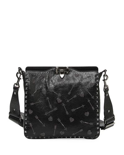 Rockstud Ricamo Arrows Heart Small Hobo Bag
