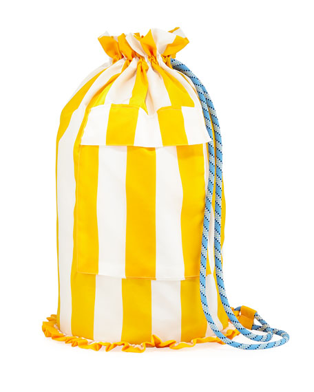 DOUBLE J Pellicano Striped Silk Backpack in Yellow/White