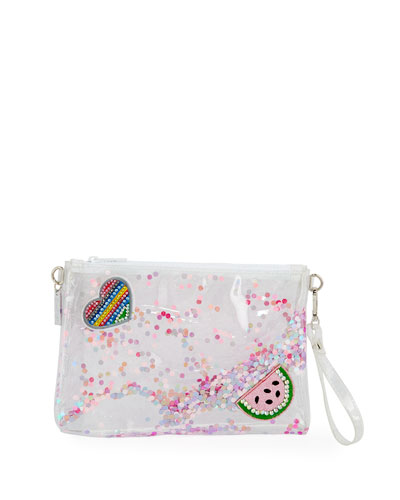 Girls' Clear Glittered Jelly Pouch Bag