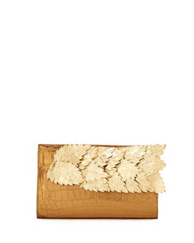 Leaves Crocodile Pyramid Clutch Bag