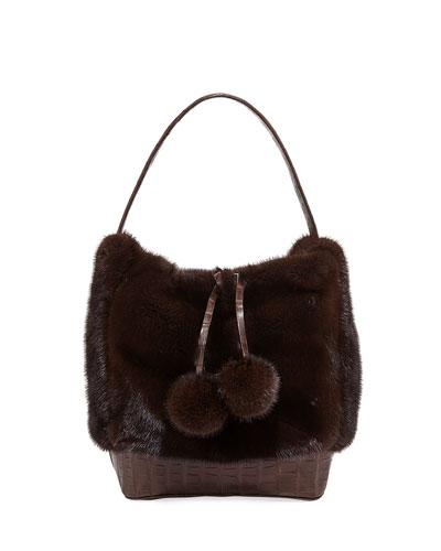 Nina Medium Mink Fur Bucket Bag w/ Crocodile Trim