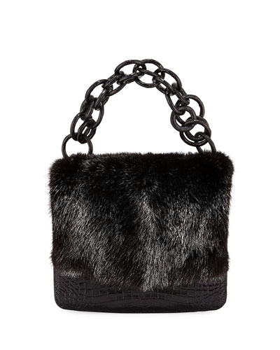 Nicola Crocodile & Mink Fur Clutch Bag