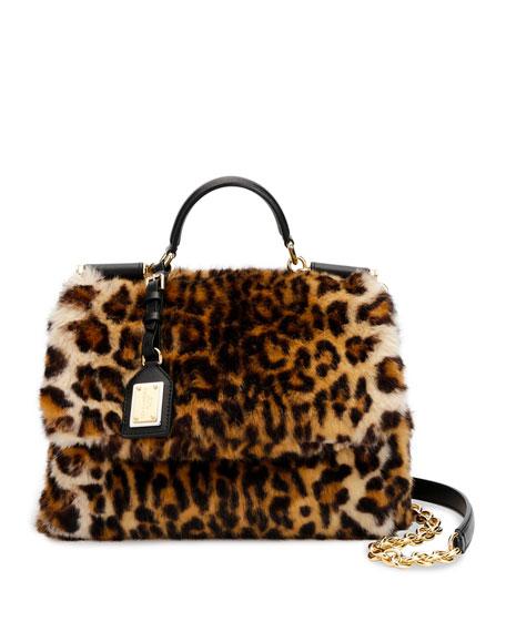 Sicily Medium Leo Pellicciotto Faux-Fur Satchel Bag
