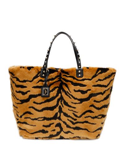 Beatrice Pellicciotto Tiger Faux-Fur Shopping Tote Bag