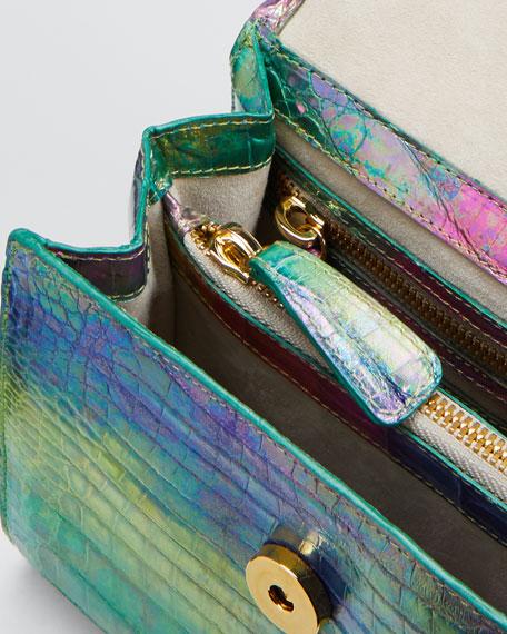 Crocodile Small Flap Top-Handle Crossbody Bag