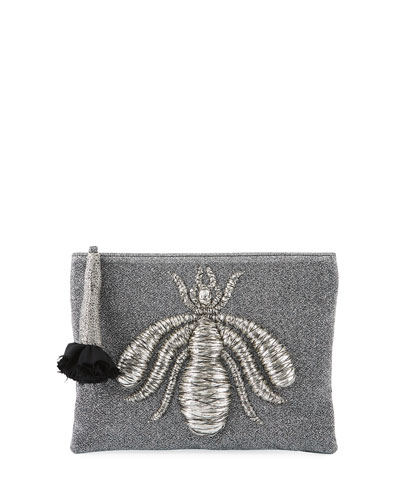 Glittered Fabric Clutch Bag with Embroidered Spider