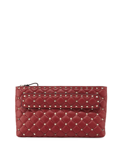 9a126d04289a Rockstud Spike Quilted Leather Clutch Bag Quick Look. Valentino Garavani