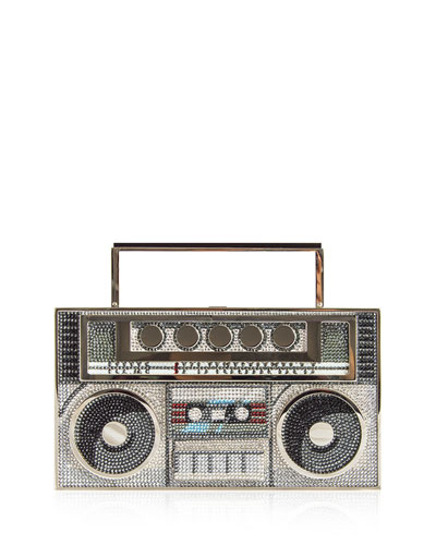 Boom Box Crystal Clutch Bag - Silvertone Hardware