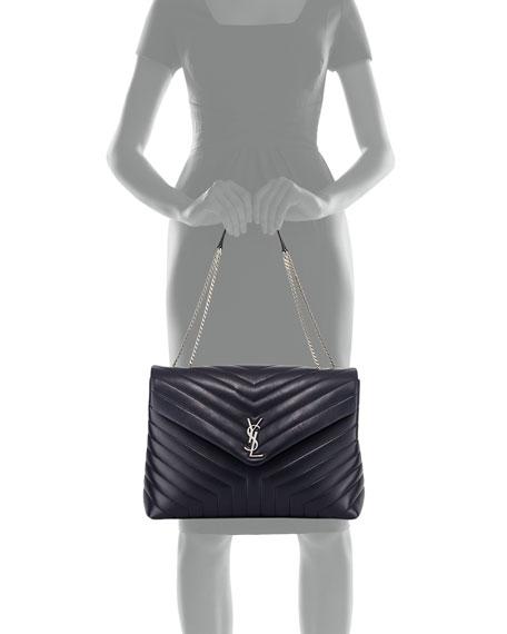 Loulou Monogram YSL Large V-Flap Chain Shoulder Bag - Nickel Oxide Hardware