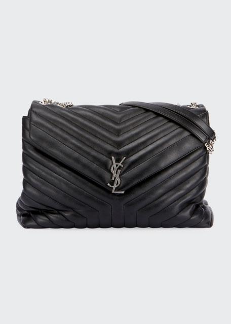 a7d49aa41b4 Saint Laurent Loulou Monogram YSL Large V-Flap Chain Shoulder Bag - Nickel  Oxide Hardware