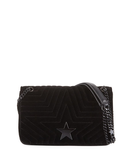 Mini Velvet Star Crossbody Bag - Black