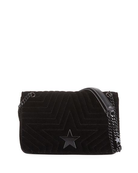 Mini Velvet Star Crossbody Bag - Black