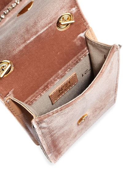Velvet Jeweled Micro Crossbody Bag