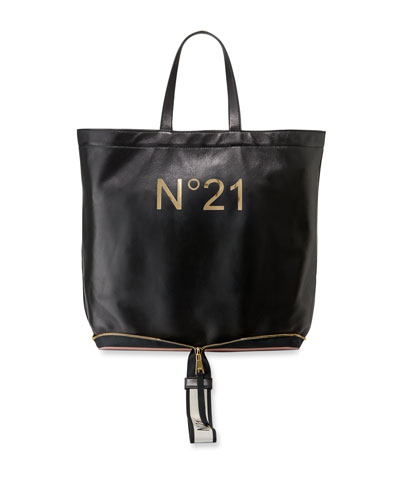 Leather Big Foldable Shopping Tote Bag