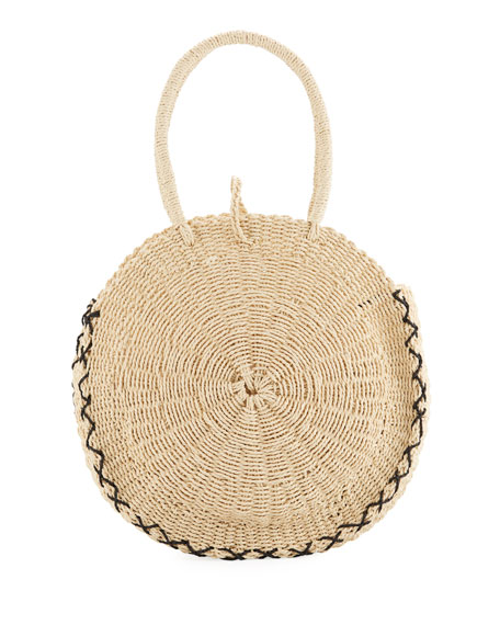 Carried Away Round Beach Basket Tote in Brown