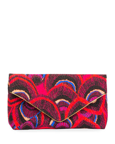 Feather-Print Canvas Envelope Clutch Bag