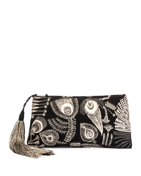 Felted Wool Zip Clutch Bag With Tassel in Black