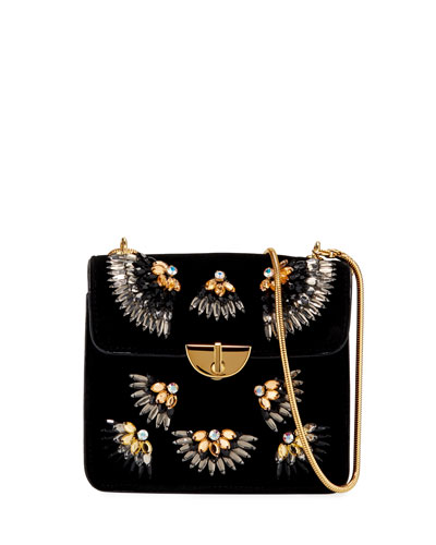 Small Velvet Embellished Shoulder Bag