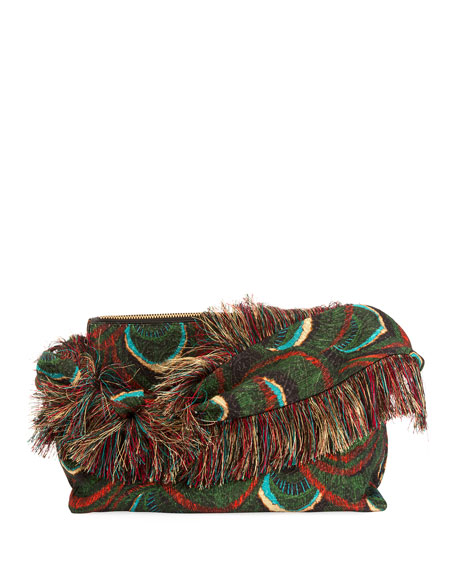 77b0f974a7 Dries Van Noten Peacock Shoulder Bag with Fringing
