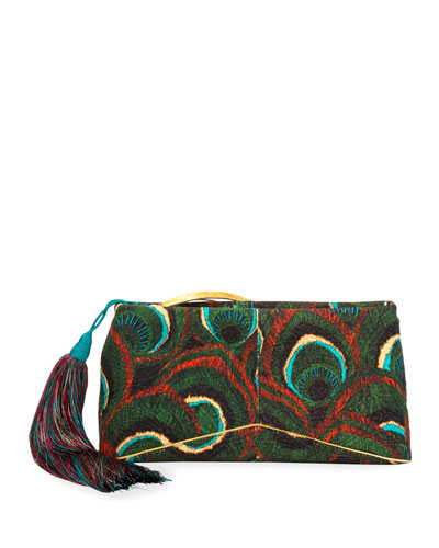 Peacock Brocade Clutch Bag