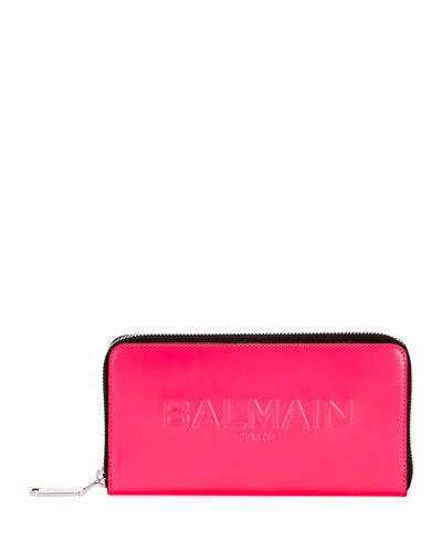 Shiny Continental Zip Wallet, Pink
