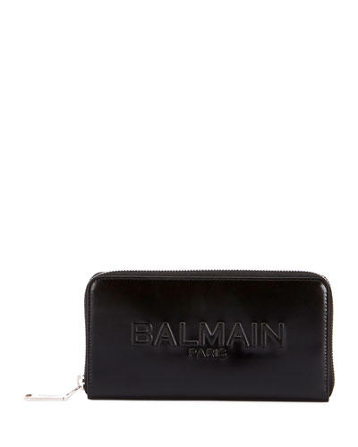 Shiny Continental Zip Wallet, Black