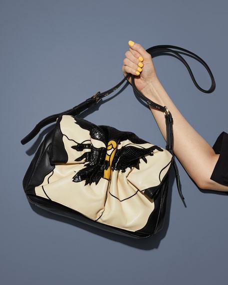 3da35f3ef5 Valentino Garavani Bloomy Floral Lamb Leather   Snakeskin Shoulder Bag