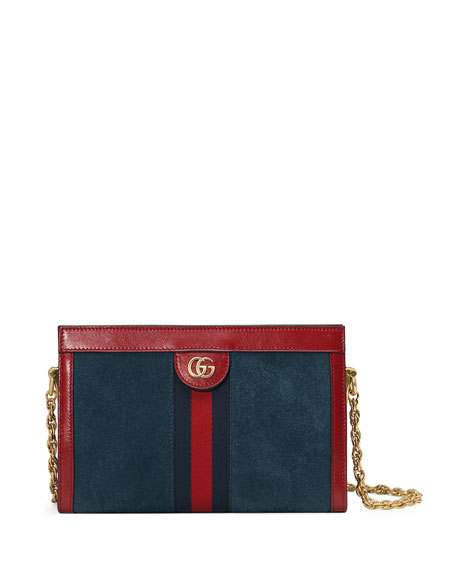 Ophidia Leather-Trimmed Suede Shoulder Bag, Blue/Red