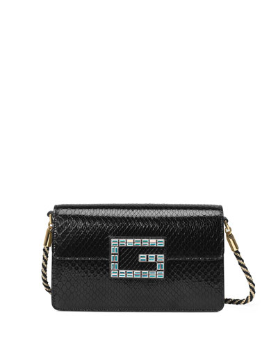 Broadway Small Python Snake Shoulder Bag with Square G