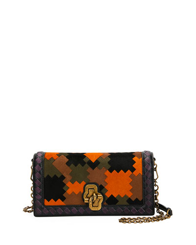 Knot Chain Clutch Bag in Puzzle Patchwork