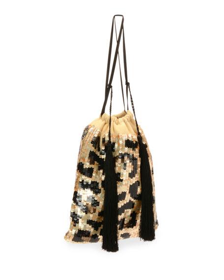 Full Sequin Leopard Pouch Bag