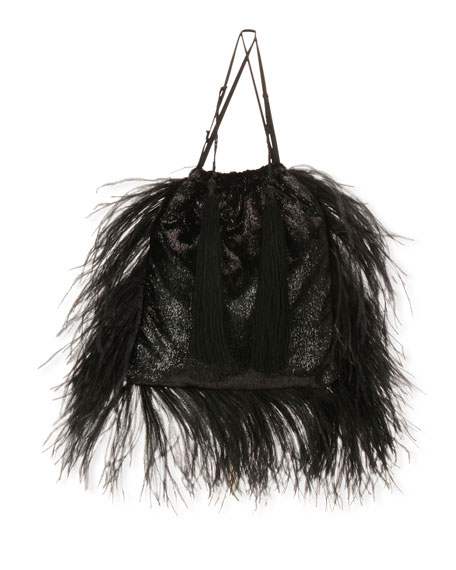 Velvet and Feathers Pouch Bag