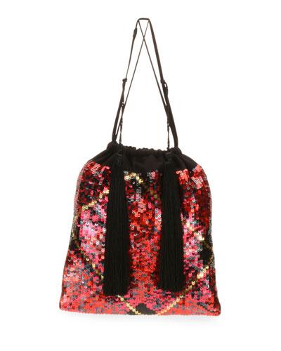 Full Sequin Tartan Pouch Bag