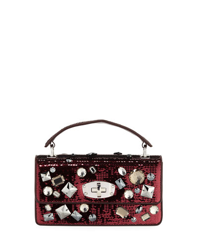 Cleo Jeweled Paillettes Top Handle Bag