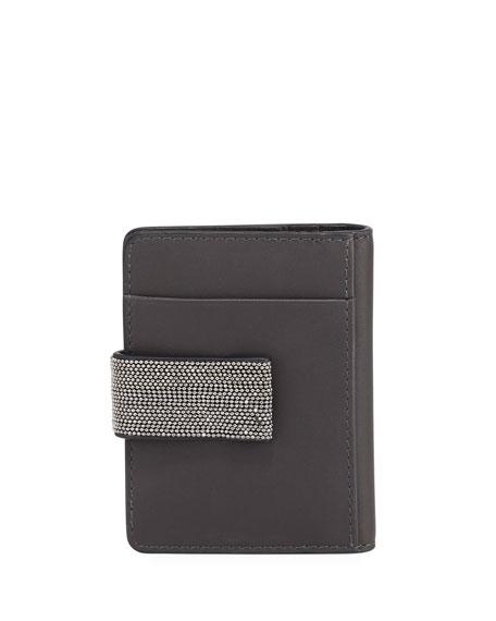 Mini Leather and Monili Card Holder