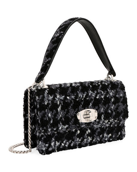 Cleo Boucle Top-Handle Shoulder Bag