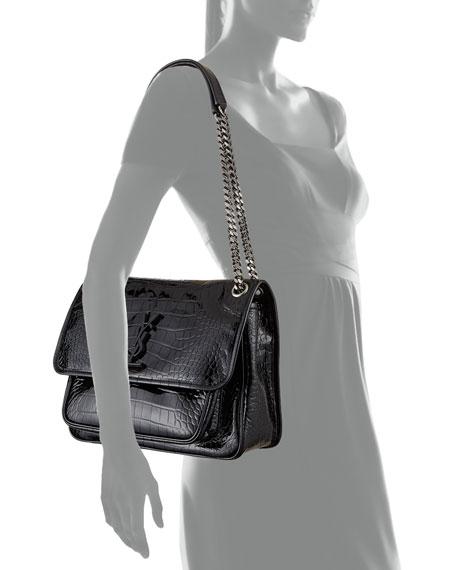 c32298317c7 Saint Laurent Niki Medium Monogram YSL Croco Shoulder Bag