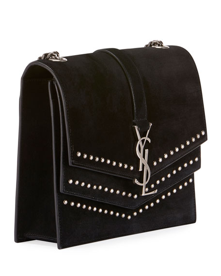 e977b7e27aa25 Saint Laurent Sulpice Monogram Triple-Flap Suede Crossbody Bag ...