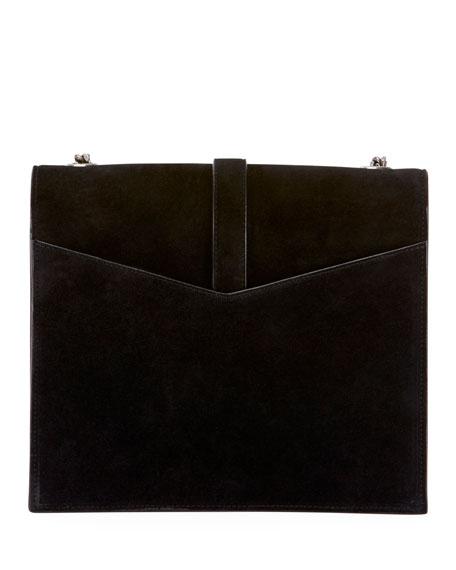 Sulpice Monogram Triple-Flap Suede Crossbody Bag - Silver Hardware