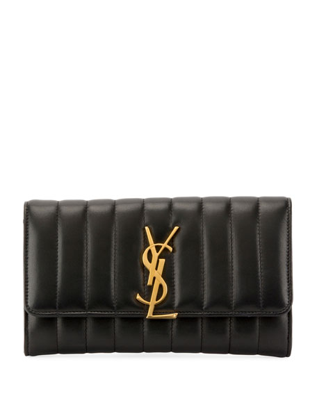 Saint Laurent Vicky Monogram YSL Quilted Leather Continental