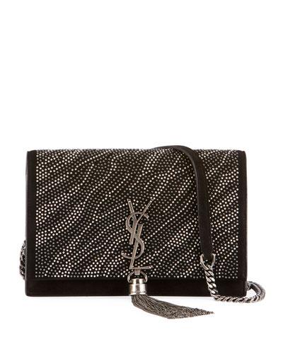 Kate Zebra Crystal-Beaded Tassel Chain Crossbody Bag