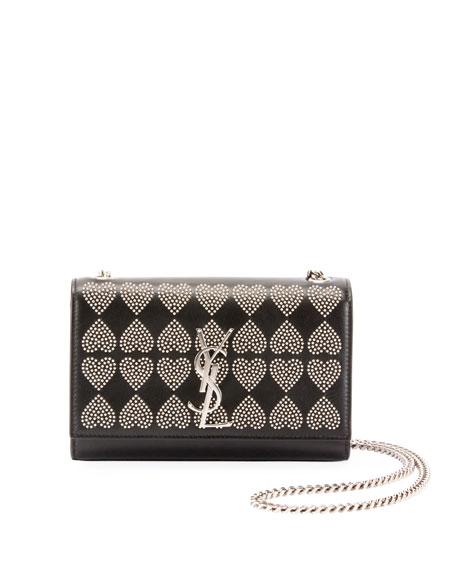Saint Laurent Kate Monogram YSL Small Heart-Studded Leather