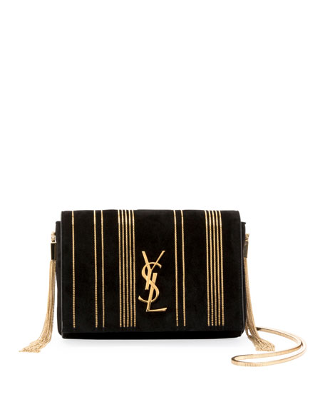 ae0cc471c6ef Saint Laurent Kate Monogram Small Suede Tassel-Side Chain Crossbody Bag