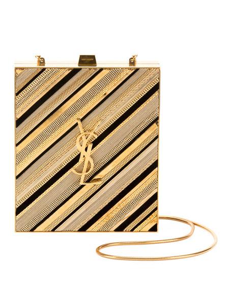 082d280a3c8 Saint Laurent Tuxedo Monogram Chain-Detail Box Minaudiere Clutch Bag