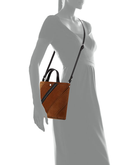 Hex Small Suede Tote Bag with Crochet Detail