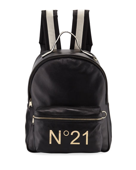 Tall Leather Logo Backpack