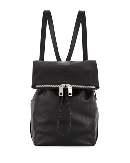Loner Leather Drawstring Backpack Bag in 001 Black
