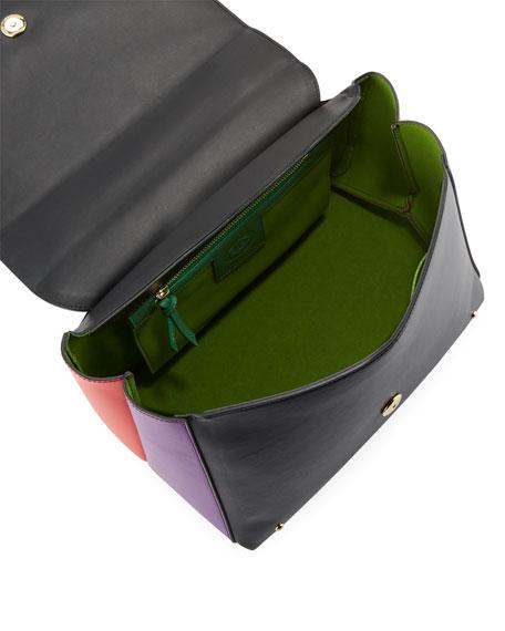 Colorblock Leather School Bag