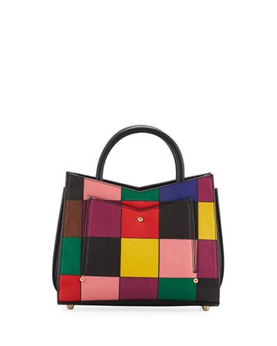 Toy Rainbow Leather Accordion Tote Bag